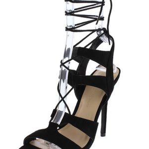 Shoes - Black tie up heels
